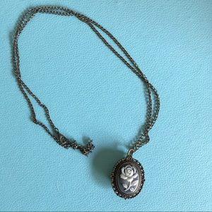 🛍 3/$20 Rose Cameo Locket Long Necklace